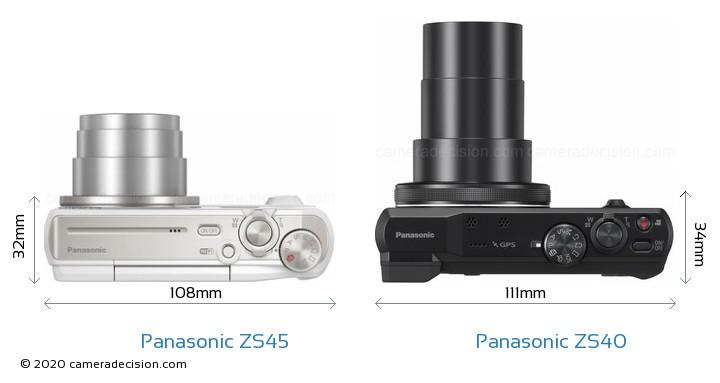 Panasonic ZS45 vs Panasonic ZS40 Camera Size Comparison - Top View