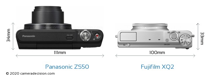 Panasonic ZS50 vs Fujifilm XQ2 Camera Size Comparison - Top View