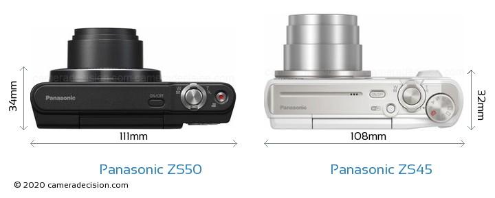 Panasonic ZS50 vs Panasonic ZS45 Camera Size Comparison - Top View
