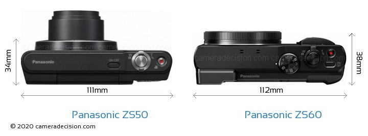 Panasonic ZS50 vs Panasonic ZS60 Camera Size Comparison - Top View