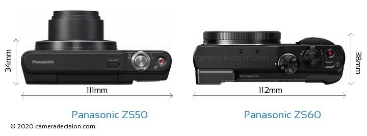 Panasonic ZS50 vs Panasonic ZS60 Camera Size Comparison - Top View