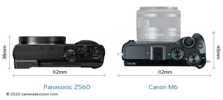 Panasonic ZS60 vs Canon M6 Camera Size Comparison - Top View