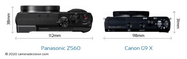 Panasonic ZS60 vs Canon G9 X Camera Size Comparison - Top View