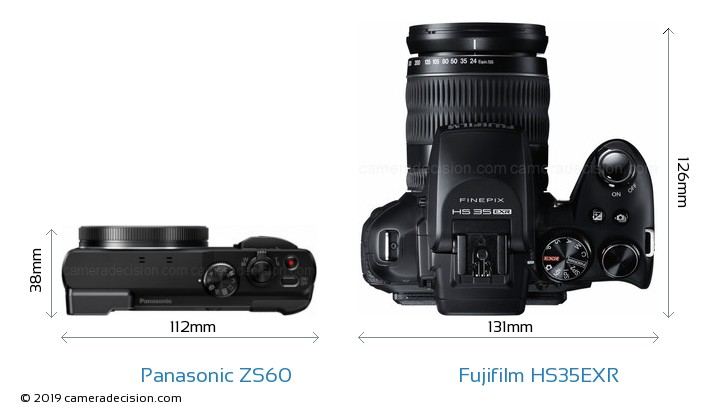 Panasonic ZS60 vs Fujifilm HS35EXR Camera Size Comparison - Top View