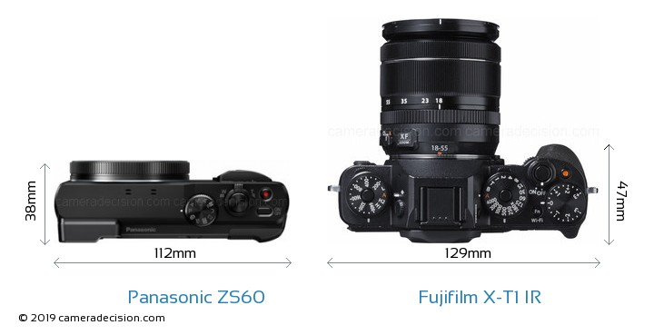 Panasonic ZS60 vs Fujifilm X-T1 IR Camera Size Comparison - Top View