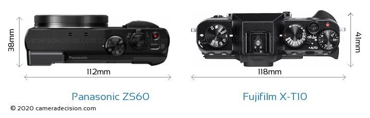 Panasonic ZS60 vs Fujifilm X-T10 Camera Size Comparison - Top View