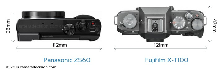 Panasonic ZS60 vs Fujifilm X-T100 Camera Size Comparison - Top View