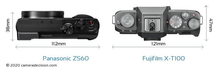 Panasonic ZS60 vs Fujifilm X-T100 Camera Size Comparison - Top View