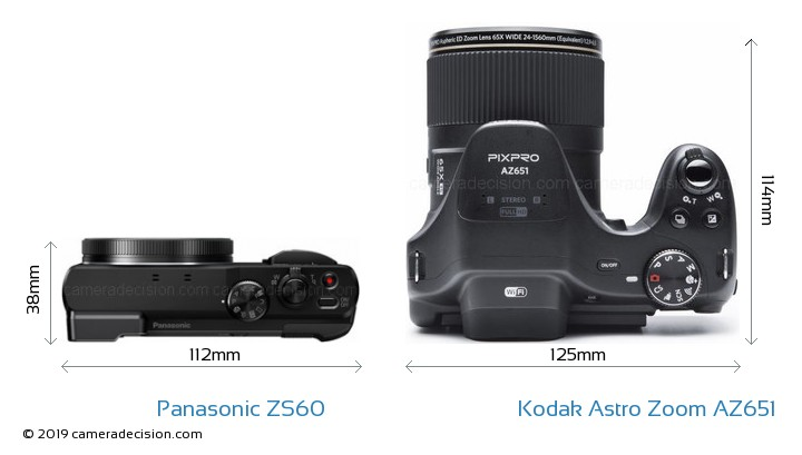 Panasonic ZS60 vs Kodak Astro Zoom AZ651 Camera Size Comparison - Top View