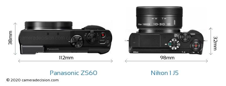 Panasonic ZS60 vs Nikon 1 J5 Camera Size Comparison - Top View