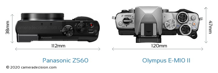 Panasonic ZS60 vs Olympus E-M10 II Camera Size Comparison - Top View