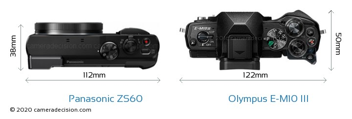 Panasonic ZS60 vs Olympus E-M10 MIII Camera Size Comparison - Top View