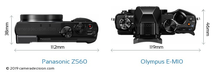 Panasonic ZS60 vs Olympus E-M10 Camera Size Comparison - Top View