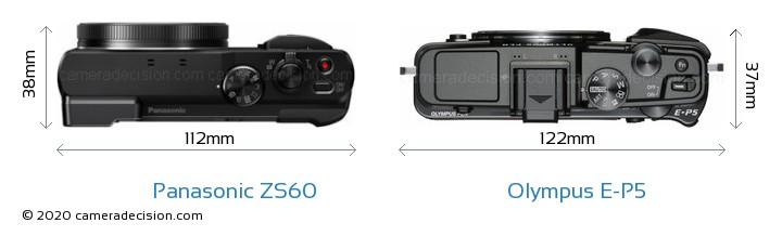 Panasonic ZS60 vs Olympus E-P5 Camera Size Comparison - Top View