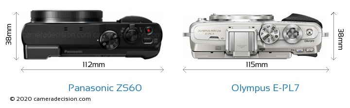 Panasonic ZS60 vs Olympus E-PL7 Camera Size Comparison - Top View