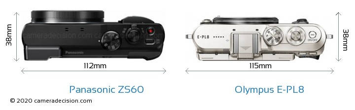 Panasonic ZS60 vs Olympus E-PL8 Camera Size Comparison - Top View