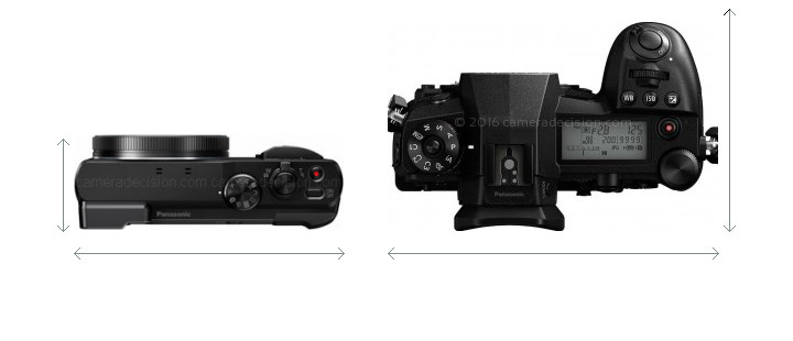 Panasonic ZS60 vs Panasonic G9 Camera Size Comparison - Top View