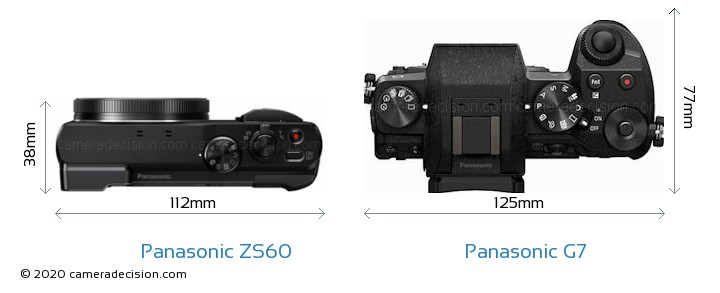 Panasonic ZS60 vs Panasonic G7 Camera Size Comparison - Top View