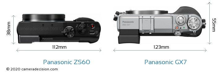 Panasonic ZS60 vs Panasonic GX7 Camera Size Comparison - Top View