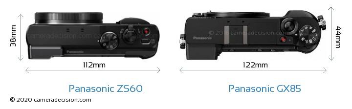 Panasonic ZS60 vs Panasonic GX85 Camera Size Comparison - Top View