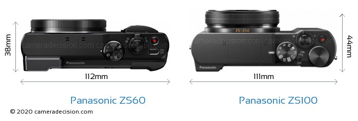 Panasonic ZS60 vs Panasonic ZS100 Camera Size Comparison - Top View