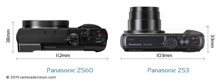 Panasonic ZS60 vs Panasonic ZS3 Camera Size Comparison - Top View