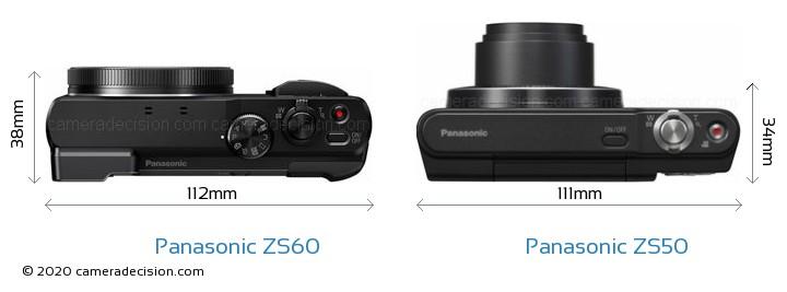 Panasonic ZS60 vs Panasonic ZS50 Camera Size Comparison - Top View