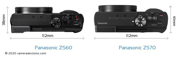 Panasonic ZS60 vs Panasonic ZS70 Camera Size Comparison - Top View