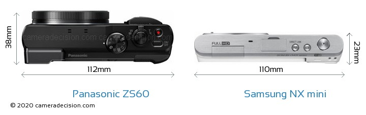 Panasonic ZS60 vs Samsung NX mini Camera Size Comparison - Top View