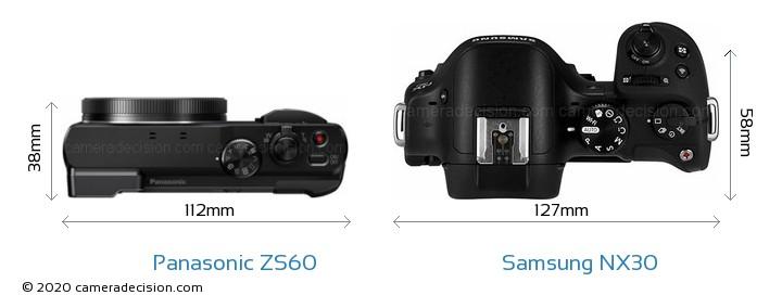 Panasonic ZS60 vs Samsung NX30 Camera Size Comparison - Top View