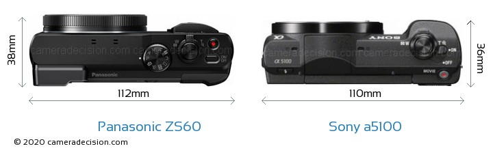 Panasonic ZS60 vs Sony a5100 Camera Size Comparison - Top View