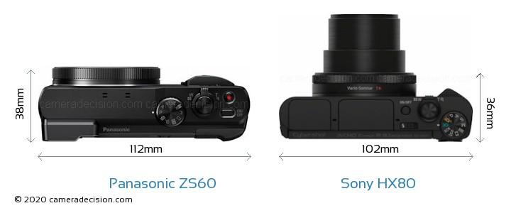 sony hx80. panasonic zs60 vs sony hx80 camera size comparison - top view hx80 m