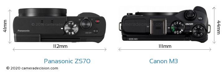 Panasonic ZS70 vs Canon M3 Camera Size Comparison - Top View