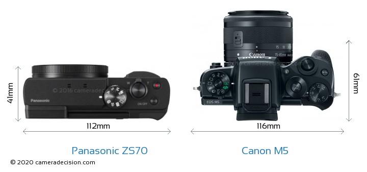 Panasonic ZS70 vs Canon M5 Camera Size Comparison - Top View