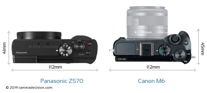 Panasonic ZS70 vs Canon M6 Camera Size Comparison - Top View