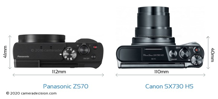 Panasonic ZS70 vs Canon SX730 HS Camera Size Comparison - Top View
