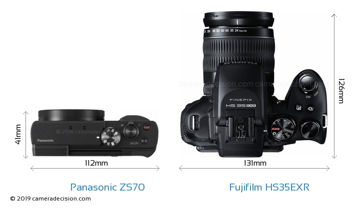 Panasonic ZS70 vs Fujifilm HS35EXR Camera Size Comparison - Top View