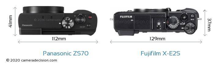 Panasonic ZS70 vs Fujifilm X-E2S Camera Size Comparison - Top View