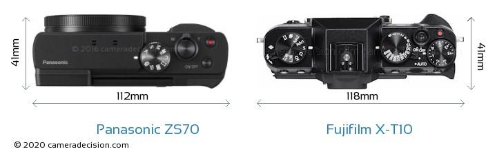 Panasonic ZS70 vs Fujifilm X-T10 Camera Size Comparison - Top View