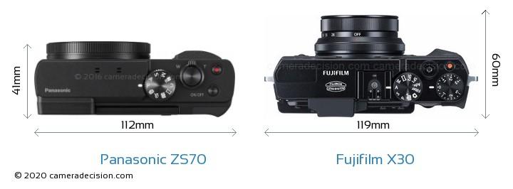 Panasonic ZS70 vs Fujifilm X30 Camera Size Comparison - Top View