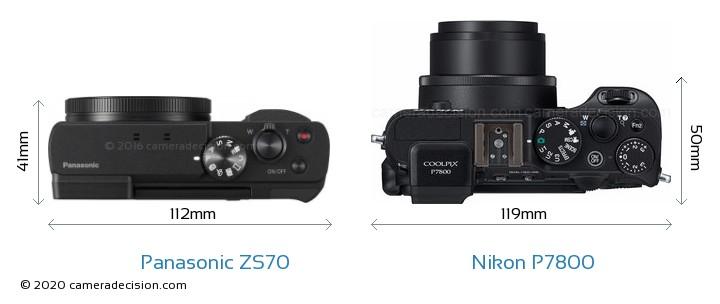 Panasonic ZS70 vs Nikon P7800 Camera Size Comparison - Top View