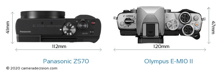 Panasonic ZS70 vs Olympus E-M10 II Camera Size Comparison - Top View