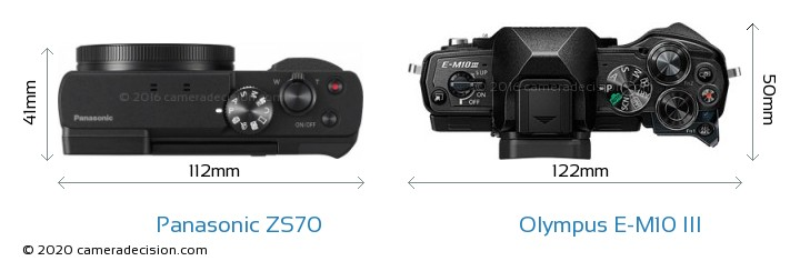 Panasonic ZS70 vs Olympus E-M10 MIII Camera Size Comparison - Top View