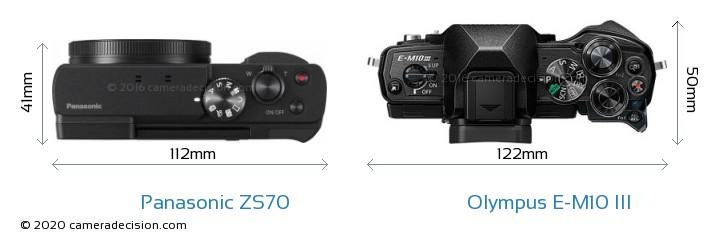 Panasonic ZS70 vs Olympus E-M10 MIII Camera Size Comparison - Top View