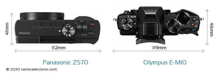 Panasonic ZS70 vs Olympus E-M10 Camera Size Comparison - Top View