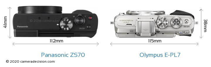 Panasonic ZS70 vs Olympus E-PL7 Camera Size Comparison - Top View