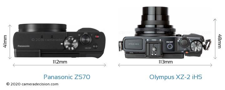 Panasonic ZS70 vs Olympus XZ-2 iHS Camera Size Comparison - Top View