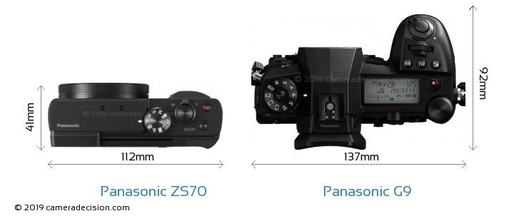 Panasonic ZS70 vs Panasonic G9 Camera Size Comparison - Top View