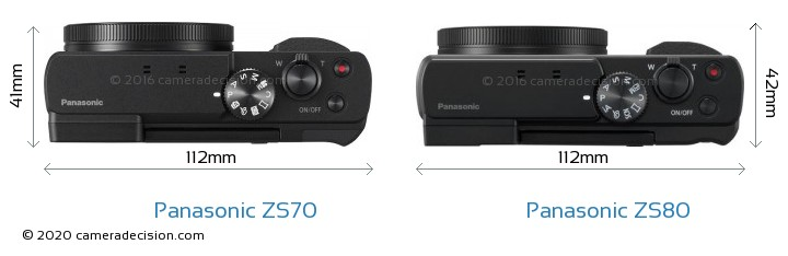 Panasonic ZS70 vs Panasonic ZS80 Camera Size Comparison - Top View