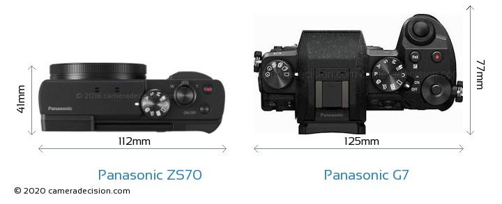 Panasonic ZS70 vs Panasonic G7 Camera Size Comparison - Top View